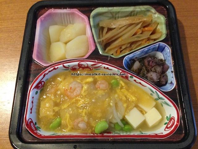 豆腐と枝豆の海老あんかけセットを食べてみた【ベルーナグルメの口コミ・実食レポ!】